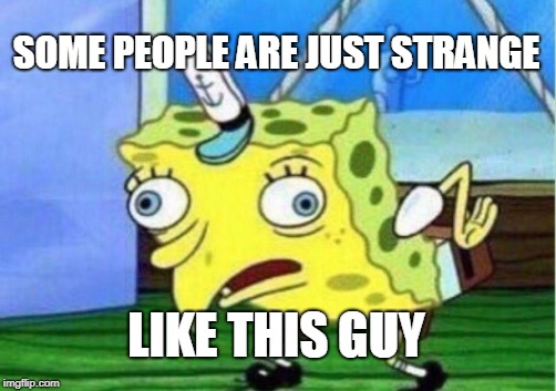 Mocking Spongebob Meme | SOME PEOPLE ARE JUST STRANGE LIKE THIS GUY | image tagged in memes,mocking spongebob | made w/ Imgflip meme maker