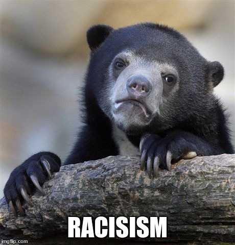 Confession Bear Meme | RACISISM | image tagged in memes,confession bear | made w/ Imgflip meme maker