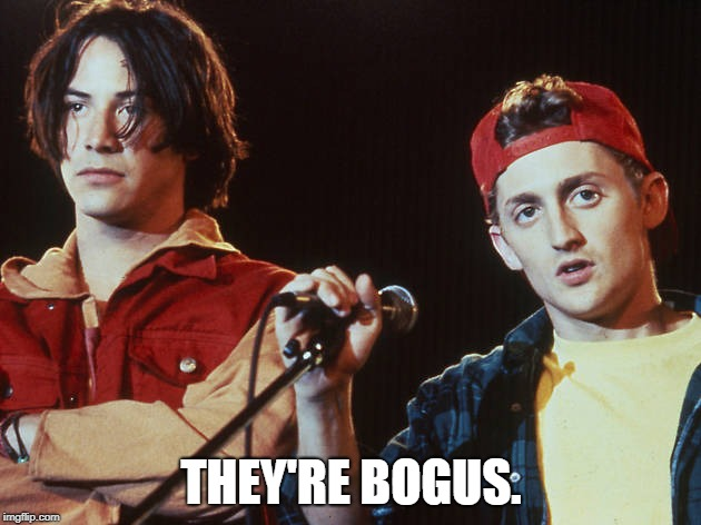 Bill and Ted | THEY'RE BOGUS. | image tagged in bill and ted | made w/ Imgflip meme maker