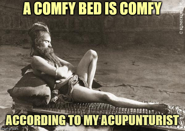 A COMFY BED IS COMFY ACCORDING TO MY ACUPUNTURIST | made w/ Imgflip meme maker