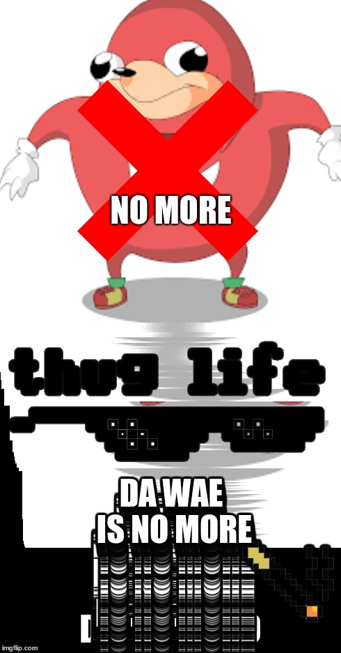 NO MORE; DA WAE IS NO MORE | image tagged in da wae | made w/ Imgflip meme maker