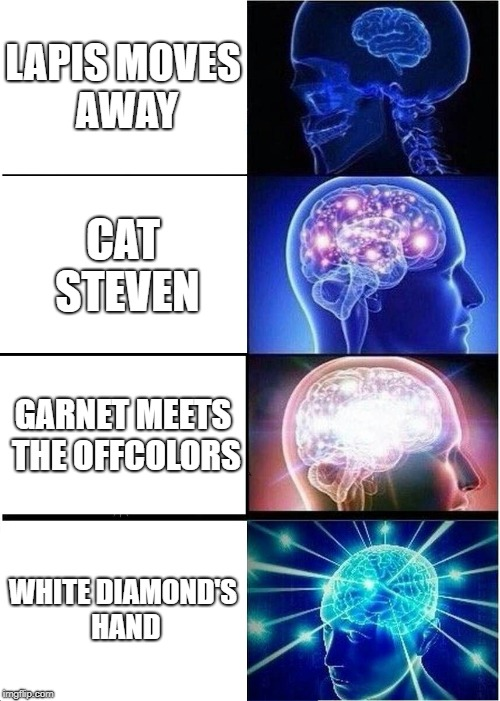 Expanding Brain Meme | LAPIS MOVES AWAY CAT STEVEN GARNET MEETS THE OFFCOLORS WHITE DIAMOND'S HAND | image tagged in memes,expanding brain | made w/ Imgflip meme maker