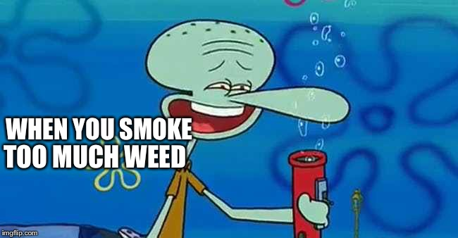 I don't smoke, but it's funny! | WHEN YOU SMOKE TOO MUCH WEED | image tagged in spongebob,memes | made w/ Imgflip meme maker