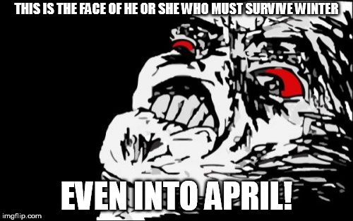 Mega Rage Face Meme | THIS IS THE FACE OF HE OR SHE WHO MUST SURVIVE WINTER EVEN INTO APRIL! | image tagged in memes,mega rage face | made w/ Imgflip meme maker