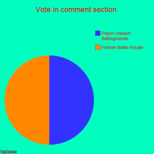 Vote in comment section | Fortnite Battle Royale, Player Unkown Battlegrounds | image tagged in funny,pie charts | made w/ Imgflip pie chart maker