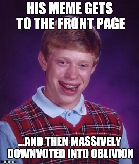 I would find it hilarious if it happened to this meme... | HIS MEME GETS TO THE FRONT PAGE ...AND THEN MASSIVELY DOWNVOTED INTO OBLIVION | image tagged in memes,bad luck brian,imgflip,front page | made w/ Imgflip meme maker