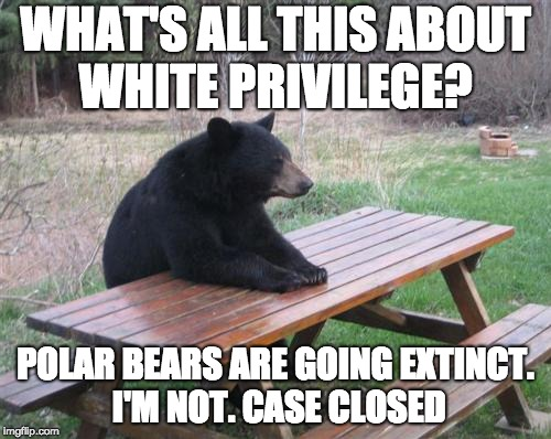 Bad Luck Bear | WHAT'S ALL THIS ABOUT WHITE PRIVILEGE? POLAR BEARS ARE GOING EXTINCT. I'M NOT. CASE CLOSED | image tagged in memes,bad luck bear | made w/ Imgflip meme maker