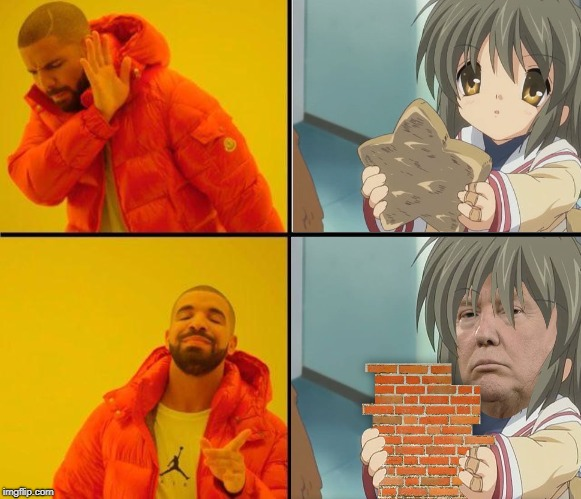 Fuko chan yes | image tagged in drake,trump wall,donald trump | made w/ Imgflip meme maker
