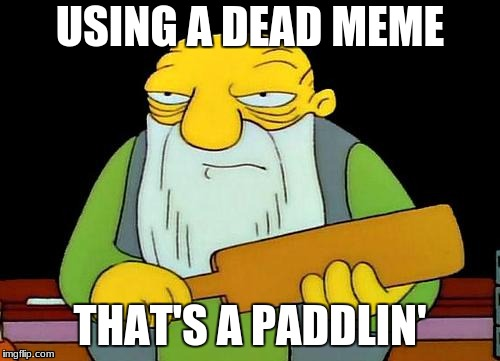 That's a paddlin' | USING A DEAD MEME THAT'S A PADDLIN' | image tagged in memes,that's a paddlin' | made w/ Imgflip meme maker