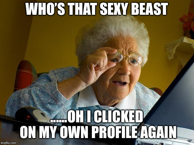 Grandma Finds The Internet |  WHO'S THAT SEXY BEAST; ......OH I CLICKED ON MY OWN PROFILE AGAIN | image tagged in memes,grandma finds the internet | made w/ Imgflip meme maker