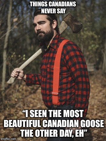 "Lumberjack | THINGS CANADIANS NEVER SAY ""I SEEN THE MOST BEAUTIFUL CANADIAN GOOSE THE OTHER DAY, EH"" 