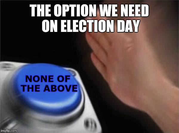 Blank Nut Button Meme | THE OPTION WE NEED ON ELECTION DAY NONE OF THE ABOVE | image tagged in memes,blank nut button | made w/ Imgflip meme maker