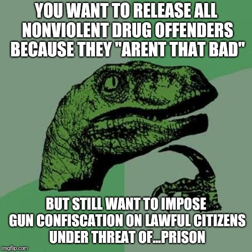 "Philosoraptor Meme | YOU WANT TO RELEASE ALL NONVIOLENT DRUG OFFENDERS BECAUSE THEY ""ARENT THAT BAD"" BUT STILL WANT TO IMPOSE GUN CONFISCATION ON LAWFUL CITIZENS 