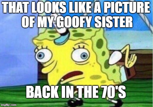 Mocking Spongebob Meme | THAT LOOKS LIKE A PICTURE OF MY GOOFY SISTER BACK IN THE 70'S | image tagged in memes,mocking spongebob | made w/ Imgflip meme maker