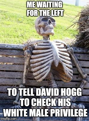 Waiting Skeleton Meme | ME WAITING FOR THE LEFT TO TELL DAVID HOGG TO CHECK HIS WHITE MALE PRIVILEGE | image tagged in memes,waiting skeleton | made w/ Imgflip meme maker