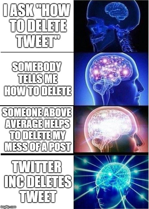 "Expanding Brain Meme | I ASK ""HOW TO DELETE TWEET"" SOMEBODY TELLS ME HOW TO DELETE SOMEONE ABOVE AVERAGE HELPS TO DELETE MY MESS OF A POST TWITTER INC DELETES TWEE 