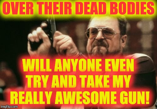 Am I The Only One Around Here Meme | OVER THEIR DEAD BODIES WILL ANYONE EVEN TRY AND TAKE MY   REALLY AWESOME GUN! | image tagged in memes,am i the only one around here | made w/ Imgflip meme maker
