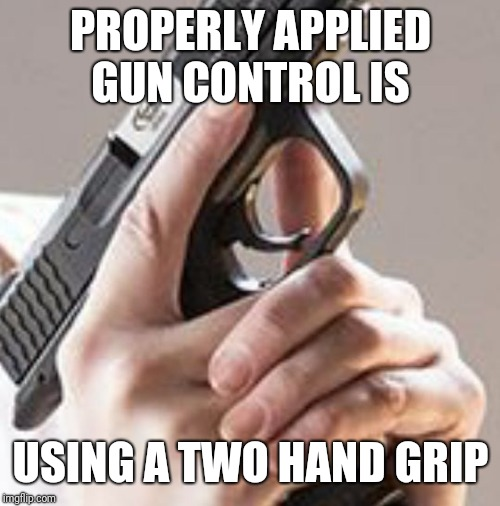 Gun Control Is.... | PROPERLY APPLIED GUN CONTROL IS USING A TWO HAND GRIP | image tagged in trigger discipline,gun control,meme,2nd amendment,discipline,sexy | made w/ Imgflip meme maker