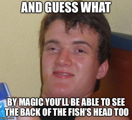 10 Guy Meme | AND GUESS WHAT BY MAGIC YOU'LL BE ABLE TO SEE THE BACK OF THE FISH'S HEAD TOO | image tagged in memes,10 guy | made w/ Imgflip meme maker