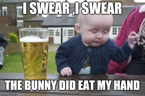 Drunk Baby Meme | I SWEAR ,I SWEAR THE BUNNY DID EAT MY HAND | image tagged in memes,drunk baby | made w/ Imgflip meme maker