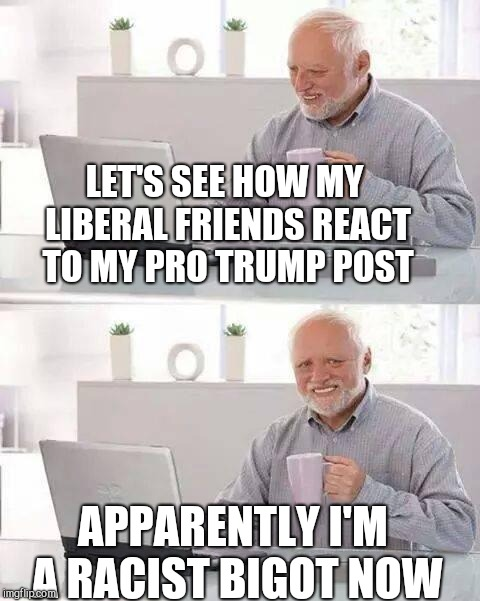 Hide the Pain Harold | LET'S SEE HOW MY LIBERAL FRIENDS REACT TO MY PRO TRUMP POST APPARENTLY I'M A RACIST BIGOT NOW | image tagged in memes,hide the pain harold | made w/ Imgflip meme maker