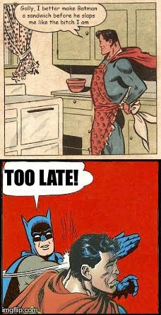 TOO LATE! | image tagged in batman and superman,batman,superman,batman vs superman,batman slapping superman | made w/ Imgflip meme maker