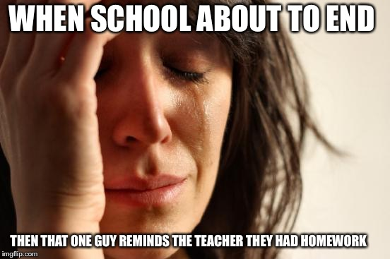 First World Problems | WHEN SCHOOL ABOUT TO END THEN THAT ONE GUY REMINDS THE TEACHER THEY HAD HOMEWORK | image tagged in memes,first world problems | made w/ Imgflip meme maker