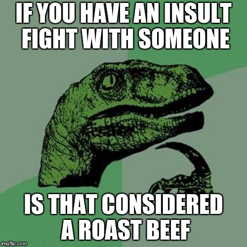 Philosoraptor Meme | IF YOU HAVE AN INSULT FIGHT WITH SOMEONE IS THAT CONSIDERED A ROAST BEEF | image tagged in memes,philosoraptor | made w/ Imgflip meme maker