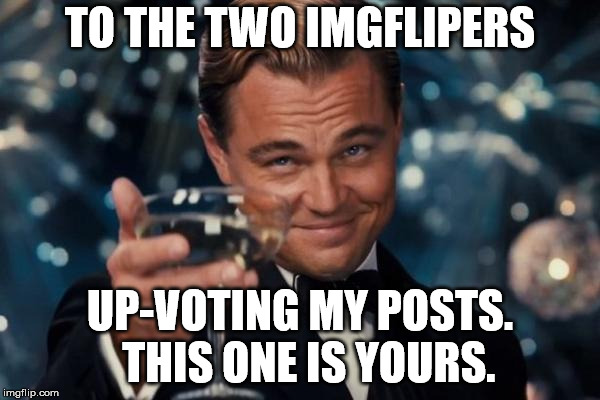 Leonardo Dicaprio Cheers Meme | TO THE TWO IMGFLIPERS UP-VOTING MY POSTS.  THIS ONE IS YOURS. | image tagged in memes,leonardo dicaprio cheers | made w/ Imgflip meme maker