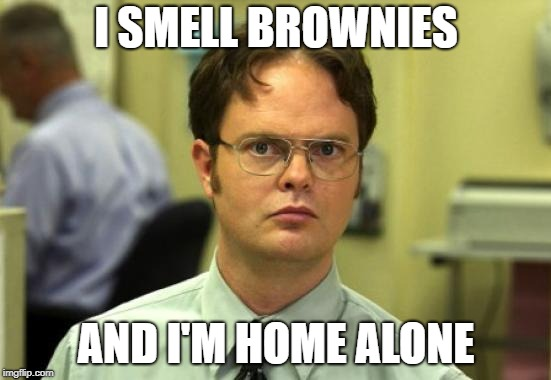 uh............... | I SMELL BROWNIES AND I'M HOME ALONE | image tagged in memes,dwight schrute | made w/ Imgflip meme maker