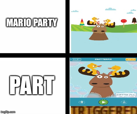 Mario part |  MARIO PARTY; PART | image tagged in triggered template,meme | made w/ Imgflip meme maker