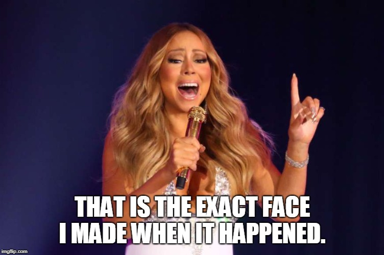 Mariah | THAT IS THE EXACT FACE I MADE WHEN IT HAPPENED. | image tagged in mariah | made w/ Imgflip meme maker