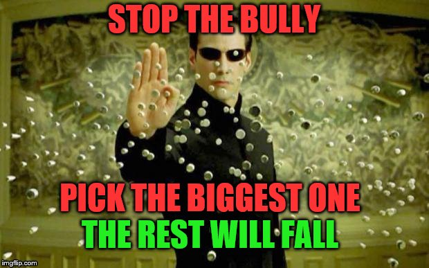 IMGFL-IX Bite the bully | STOP THE BULLY PICK THE BIGGEST ONE THE REST WILL FALL | image tagged in meanwhile on imgflip,matrix,bullying,meme,memes | made w/ Imgflip meme maker
