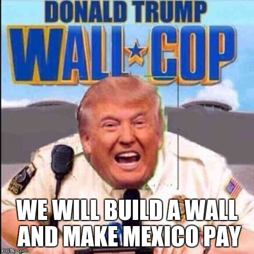 Wall cop | WE WILL BUILD A WALL AND MAKE MEXICO PAY | image tagged in weneedtobuildawall | made w/ Imgflip meme maker