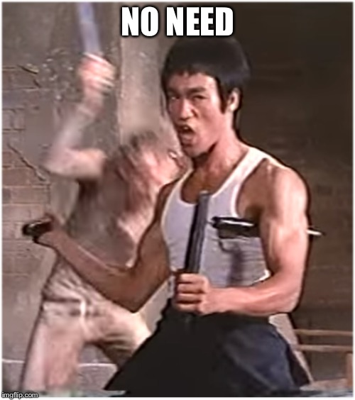 Bruce Lee | NO NEED | image tagged in bruce lee | made w/ Imgflip meme maker