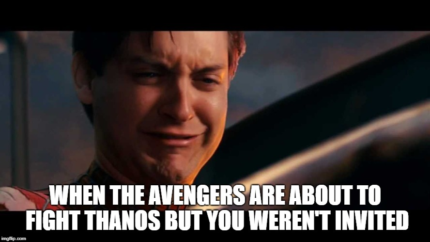 Uninvited spiderman | WHEN THE AVENGERS ARE ABOUT TO FIGHT THANOS BUT YOU WEREN'T INVITED | image tagged in spiderman,avengers,infinity war,marvel comics | made w/ Imgflip meme maker