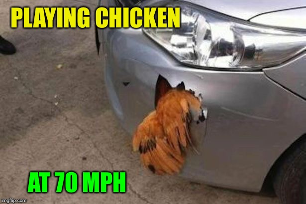 Zigged instead of zagged. | PLAYING CHICKEN AT 70 MPH | image tagged in jbmemegeek,giveuahint,chicken week,memes,funny | made w/ Imgflip meme maker