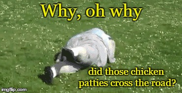 Why, oh why did those chicken patties cross the road? | made w/ Imgflip meme maker