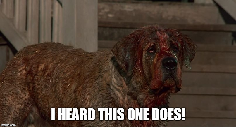Cujo | I HEARD THIS ONE DOES! | image tagged in cujo | made w/ Imgflip meme maker