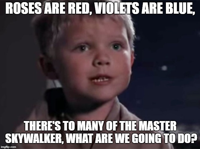 Roses are red, violets are blue. | ROSES ARE RED, VIOLETS ARE BLUE, THERE'S TO MANY OF THE MASTER SKYWALKER, WHAT ARE WE GOING TO DO? | image tagged in memes,roses are red,violets are blue,master skywalker,star wars | made w/ Imgflip meme maker