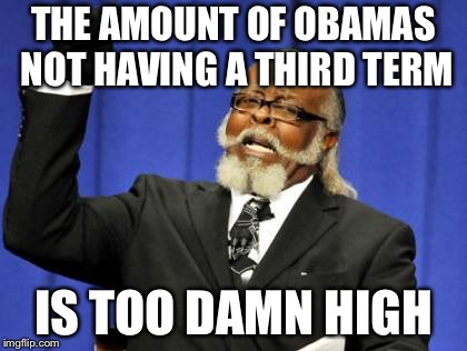 Too Damn High Meme | THE AMOUNT OF OBAMAS NOT HAVING A THIRD TERM IS TOO DAMN HIGH | image tagged in memes,too damn high | made w/ Imgflip meme maker