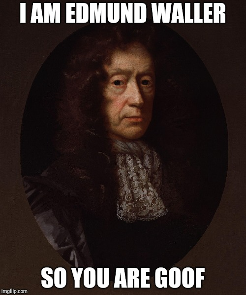 I AM EDMUND WALLER SO YOU ARE GOOF | image tagged in edmund waller | made w/ Imgflip meme maker