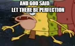 Spongegar | AND GOD SAID:      LET THERE BE PERFECTION | image tagged in memes,spongegar | made w/ Imgflip meme maker