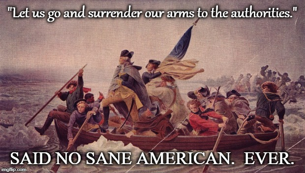 "Gun control | ""Let us go and surrender our arms to the authorities."" SAID NO SANE AMERICAN.  EVER. 