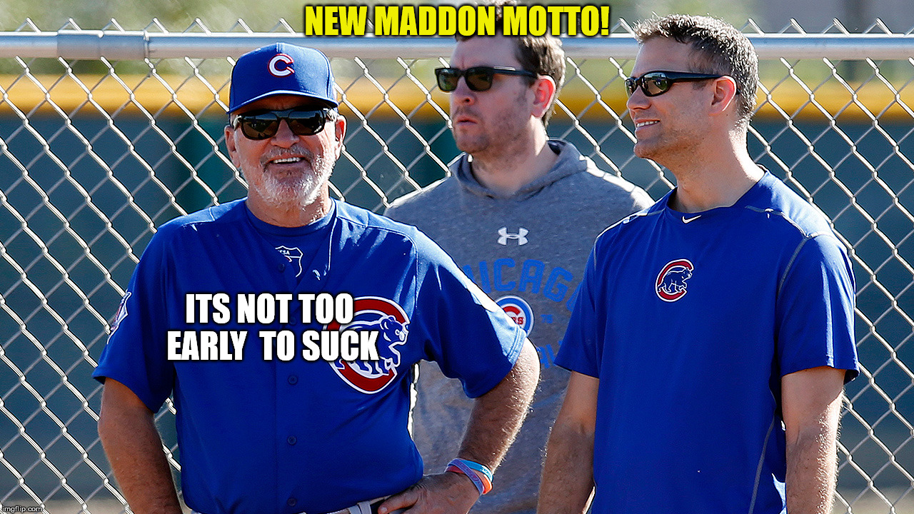 NEW MADDON MOTTO! ITS NOT TOO EARLY  TO SUCK | image tagged in maddon | made w/ Imgflip meme maker