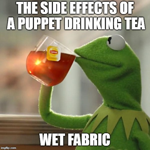 But Thats None Of My Business Meme | THE SIDE EFFECTS OF A PUPPET DRINKING TEA WET FABRIC | image tagged in memes,but thats none of my business,kermit the frog | made w/ Imgflip meme maker