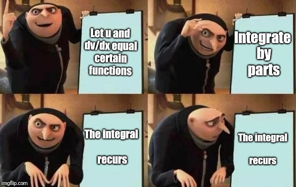 Gru's Plan | Let u and dv/dx equal certain functions Integrate by parts The integral recurs The integral recurs | image tagged in gru's plan | made w/ Imgflip meme maker
