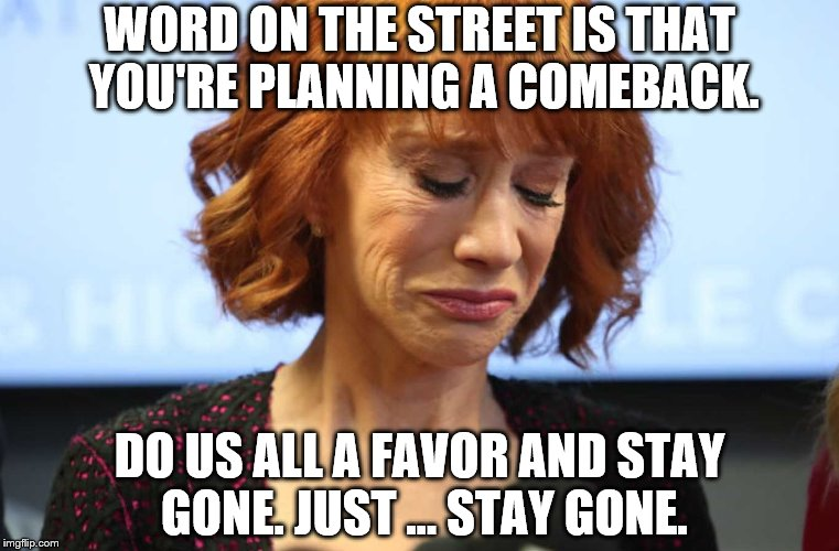 WORD ON THE STREET IS THAT YOU'RE PLANNING A COMEBACK. DO US ALL A FAVOR AND STAY GONE. JUST ... STAY GONE. | image tagged in kathy griffin crying | made w/ Imgflip meme maker
