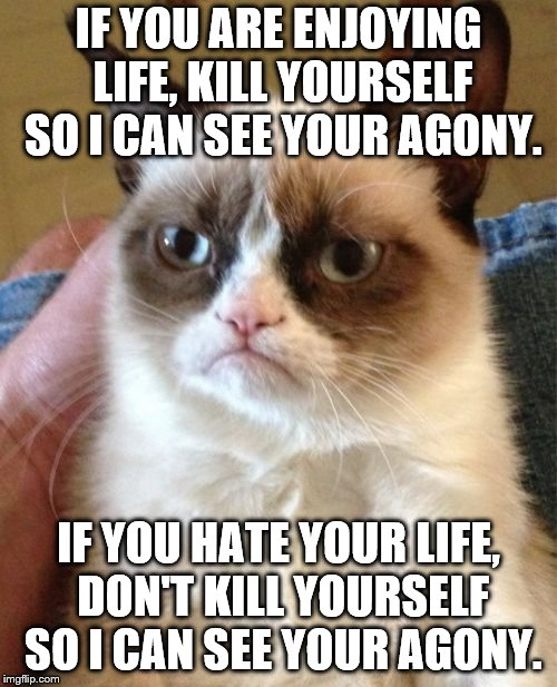 Grumpy Cat Meme | IF YOU ARE ENJOYING LIFE, KILL YOURSELF SO I CAN SEE YOUR AGONY. IF YOU HATE YOUR LIFE, DON'T KILL YOURSELF SO I CAN SEE YOUR AGONY. | image tagged in memes,grumpy cat | made w/ Imgflip meme maker