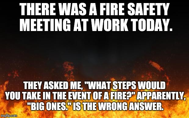 "fire | THERE WAS A FIRE SAFETY MEETING AT WORK TODAY. THEY ASKED ME, ""WHAT STEPS WOULD YOU TAKE IN THE EVENT OF A FIRE?"" APPARENTLY, ""BIG ONES."" IS 